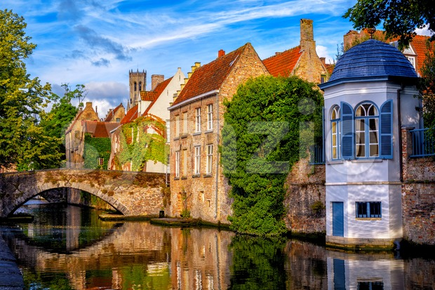 Historical brick houses in Bruges medieval Old Town, Belgium Stock Photo