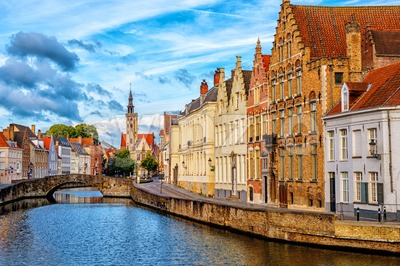 Bruges Old Town, canal and Poortersloge building, Belgium Stock Photo