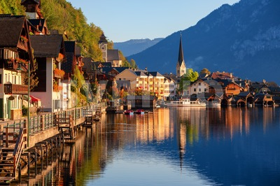 Traditional wooden village Hallstatt on Lake Hallstatt in european Alps, Austria Stock Photo