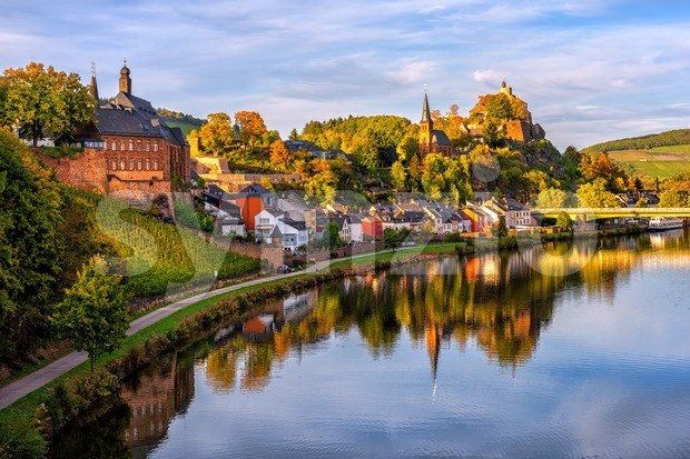 Saarburg historical Old Town on the hills in Saar river valley, Germany, in sunset light