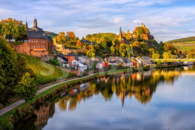 Saarburg Old town on a hills of Saar river valley, Germany Stock Photo