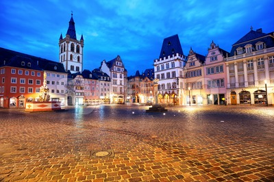 Trier, Germany, colorful gothic houses in the Old Town Main Market square Stock Photo