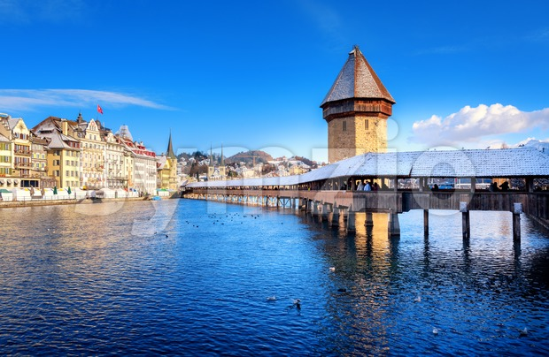 Lucerne, Switzerland, Chapel Bridge with white snow in winter Stock Photo