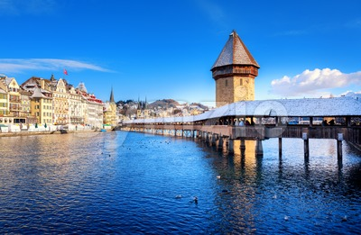 Lucerne, Switzerland, Chapel Bridge with white snow in winter Stock Photo