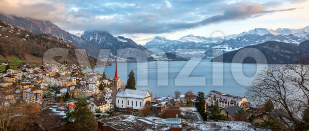 Weggis village on Lake Lucerne, swiss Alps mountains, Switzerland Stock Photo