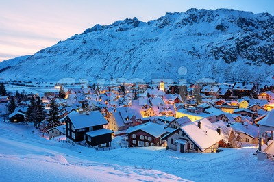 Andermatt village in swiss Alps mountains, Switzerland in winter Stock Photo
