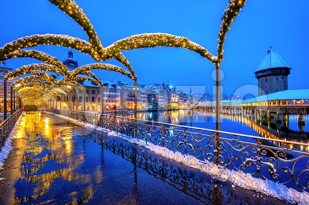 Lucerne Old town, Switzerland, in Christmas illumination Stock Photo