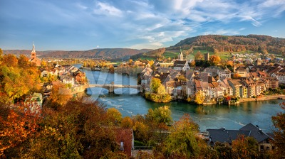 Laufenburg Old town on Rhine river, Switzerland - Germany border Stock Photo