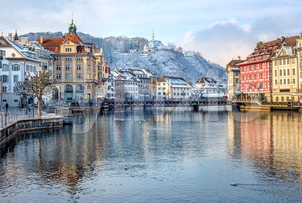 Lucerne city, Switzerland, snow white in winter time Stock Photo