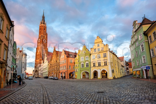 Landshut Old Town, Bavaria, Germany, traditional colorful gothic style medieval houses. Stock Photo