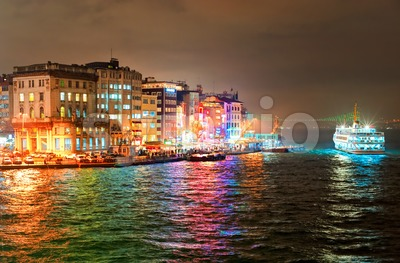 Night view of Galata quarter on Bosporus in Istanbul, Turkey Stock Photo