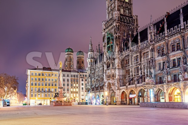 Munich Old town, Marienplatz square, the New Town Hall and St Mary's Cathedral, Germany, in the night