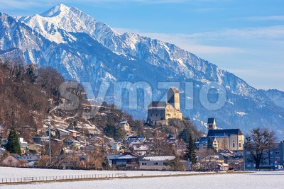 Sargans town and historical castle in Alps mountains, Switzerland Stock Photo