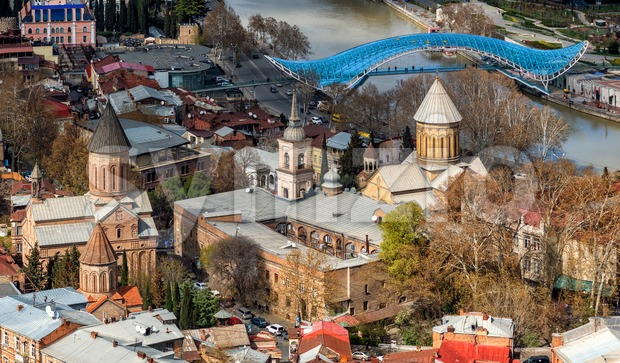 View over Tbilisi Old town and orthodox Sioni Cathedral, Georgia Stock Photo