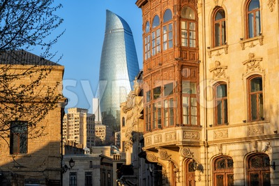Baku Old town, Azerbaijan, with historical and modern buildings Stock Photo