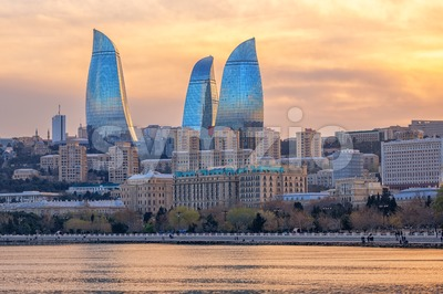 Baku, Azerbaijan, view of the city and Flower Tower skyscrapers Stock Photo
