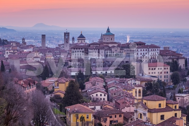 Bergamo historical city, Lombardy, Italy, aerial view of towers and domes of the Old Town