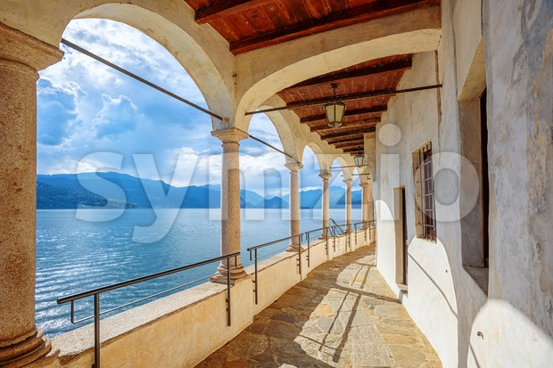 Monastery of Santa Caterina del Sasso on Lago Maggiore lake, Italy Stock Photo