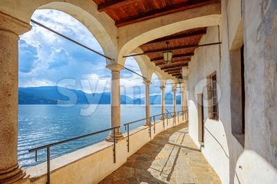 Monastery of Santa Caterina del Sasso on Lago Maggiore lake, Italy Stock Photo