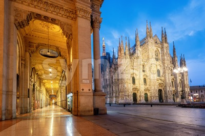 Milan city, the Duomo Cathedral and Galleria Vittorio Emanuele II, Italy Stock Photo