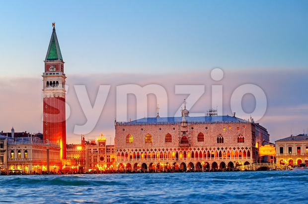 Venice, Italy, view of the Doges Palace and Campanile in the evening light Stock Photo