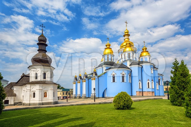 Kiev, Ukraine, orthodox christian St Michael's Golden Domed monastery is a famous landmark and an example of ukrainian baroque style