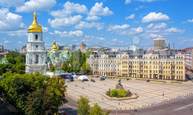Kiev, Ukraine, city view with St. Sophia's golden dome christian orthodox cathedral with its Bell Tower on a beautiful sunny ...