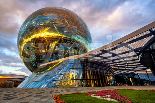 Astana, Kazakhstan, the modernist glass sphere of Nur Alem pavilion Stock Photo