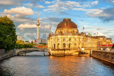 Berlin, Germany, Museum island, Spree river and Alexanderplatz Stock Photo