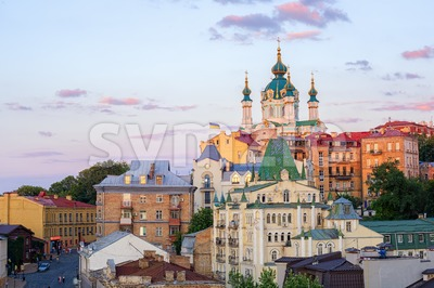 Kiev, Ukraine, Andriyivskyy Descent street in the Old town Stock Photo