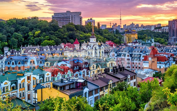 Kiev, Ukraine, Vozdvyzhenka Barrio in historical city center Stock Photo