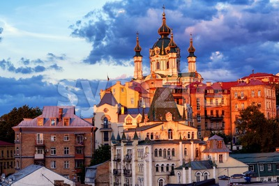 Kiev, Ukraine, St Andrew's Church in historical city center Stock Photo