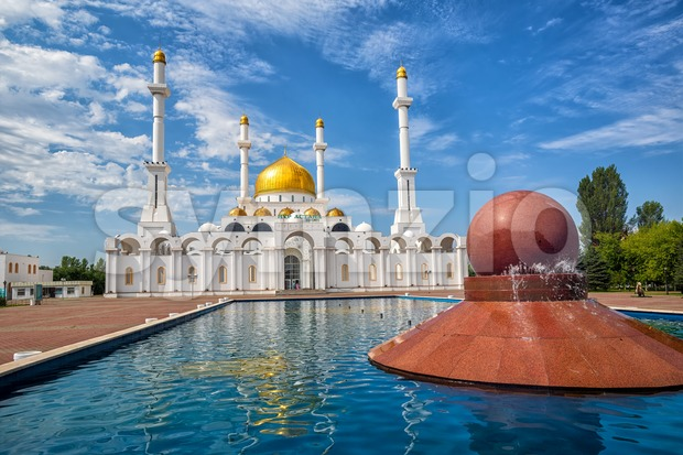 Astana, Kasakhstan, beautiful gold and white Nur Astana mosque is one of the biggest in Central Asia