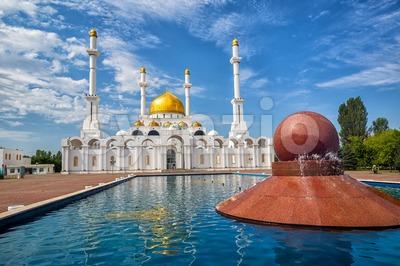 Astana, Kasakhstan, golden domes and minarets of Nur Astana mosque Stock Photo