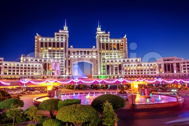 Astana, Kazakhstan, night view of the city Stock Photo