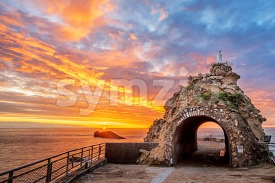 Biarritz, France, Rock of the Virgin on dramatical sunset Stock Photo