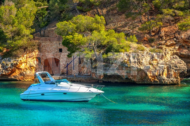 Beautiful white yacht in harbor of Cala Figuera, Mallorca, Spain Stock Photo