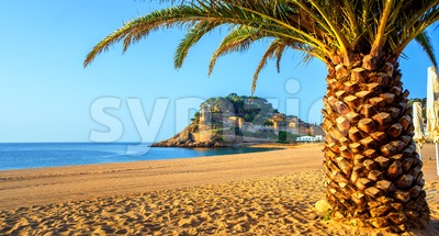 Panoramic view of Tossa de Mar, a popular resort town on Costa Brava, Spain Stock Photo