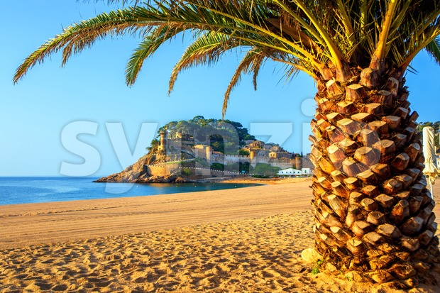 Tossa de Mar, a popular resort town on Costa Brava, Spain Stock Photo