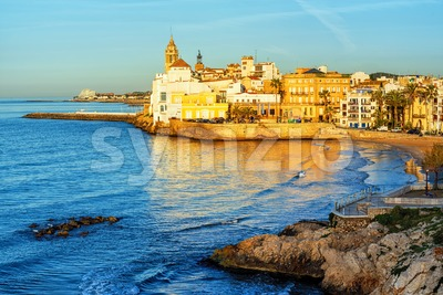Sitges, Spain, a historical resort town on Costa Dorada Stock Photo