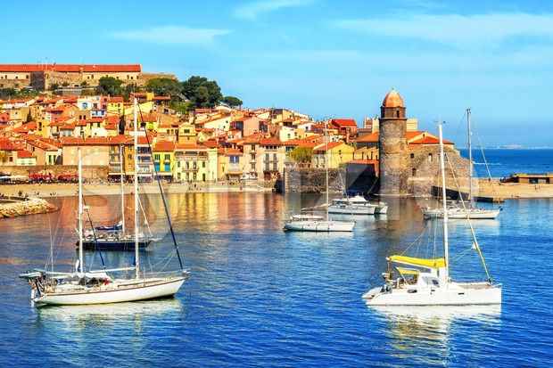 Collioure, France, a popular resort town on Mediterranean sea Stock Photo