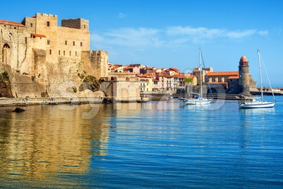 Collioure, France, the Old town with Royal castle and church Stock Photo