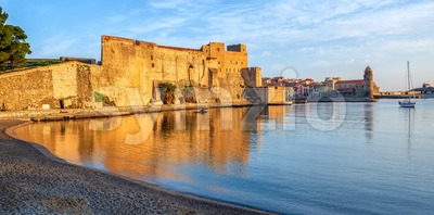 Collioure, France, Royal castle and Old town panorama Stock Photo