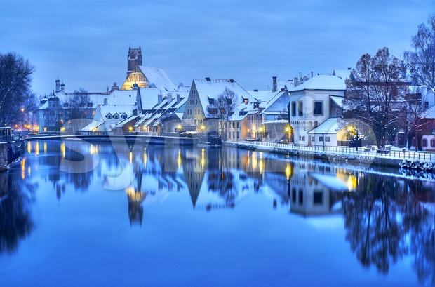 Winter evening in Landshut, a historical german town near Munich, Germany