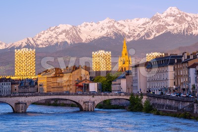Grenoble, France, historical city center and Alps mountains Stock Photo