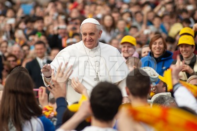 Pope Francis I greets prayers in Vatican City, Rome, Italy Stock Photo