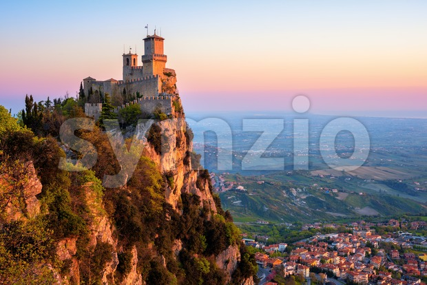 Guaita tower fortress on sunrise, San Marino Stock Photo