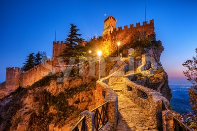First tower of San Marino at night Stock Photo