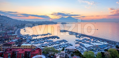 Panoramic view of Naples city, Italy, at sunrise Stock Photo