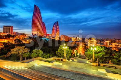 Baku city, Azerbaijan, in the evening light Stock Photo